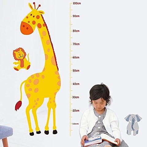 Leone Giraffa Misura Della Decalcomania Degli Autoadesivi Della Parete Del Vinile Bambini Grafico Altezza