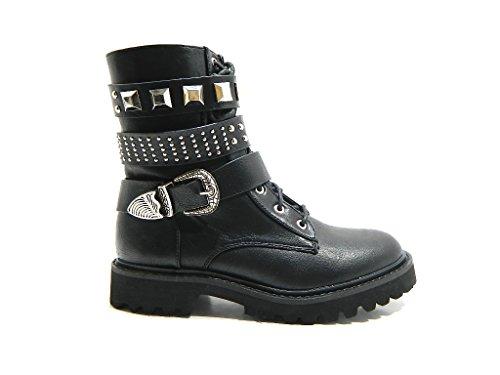 Mujer Militar Vendimia Ejército Godo Combate Zapatos Planos Rock Botas - Negro Patentar - 38 - DR0009 S7WCOZ