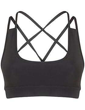 donna yoga sport palestra, ALLENAMENTO FITNESS GINNASTICA Reggiseno Maglietta corta Stretch reggiseno