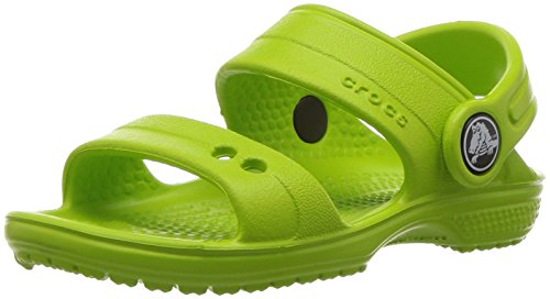 Crocs classic k, sandali punta aperta unisex – bambini, verde (volt green), 27-28 eu