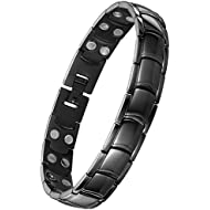 Jeracol Magnetic Therapy Bracelets Men High Strength Double Magnets Wristband Arthritis Pain Relief Remove Tool, Black