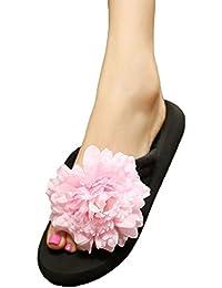 YOUJIA Mujeres Boho Flores Chanclas Verano Playa Zapatos de cuña Plataforma Zapatillas