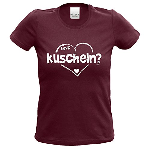 love shirt T-Shirt Outfit Frauen Mädchen kuscheln Geburtstag Geschenkidee Geschenk kurzarm Farbe: burgund Burgund