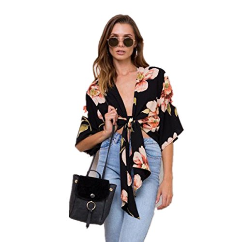 DOLDOA Mode Frauen V-Ausschnitt Blumen gedruckt Bogen Hülse kurze Bluse Tops Shirt (Größe: 42 Fehlschlag: 94cm / 37.0