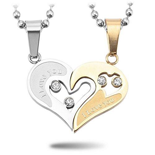MeMeDIY 2 PCS Silber Golden Zwei Ton Edelstahl Anhänger Halskette CZ Zirkon Zirkonia Herz Paar Paare mit 50cm & 58cm Kette - Kundenspezifische Gravur (Herz Halskette Paar)