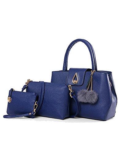 Damen Handtaschen Set 3 Teiliges Leder Crossbody Tasche Handgelenktasche Schwarz Blau
