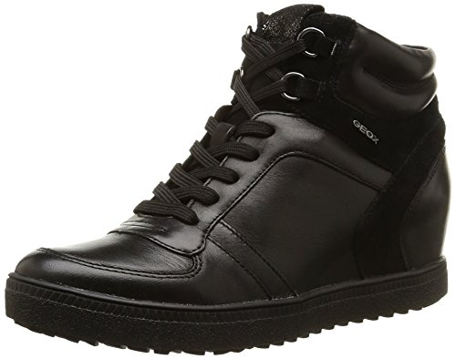 Geox D Amaranth High D, Sneaker, Donna, Nero (Black), 38