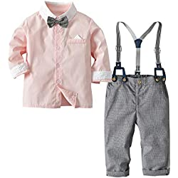 Camisa de Manga Larga con Pajarita + pantalón de Liga para bebés y niños pequeños, Trajes de Traje de Mono de Color de Primavera y Contraste en Color de Contraste (Color : Pink, Size : 3Y-4Y)
