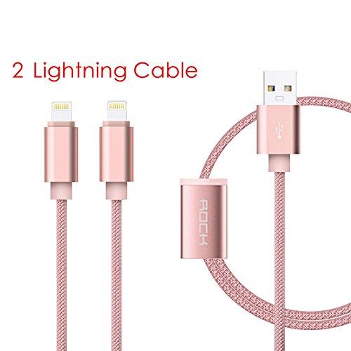 Lightning Kabel, Rock 1.2m USB 2.0 Micro Kabel [Hochwertiges Nylon geflochten] [Blitz-Übertragung] [Verzinntes Kupferdrahtkern] für IOS / Type-C / Micro(A-2, Rosa) (Übergangs-konsole)