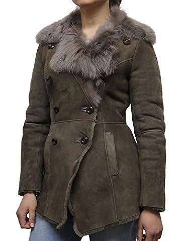 Brandslock Veste en cuir véritable à double peau de mouton féminin Manteau en laine mérinos de luxe (4XL/20, Marron)