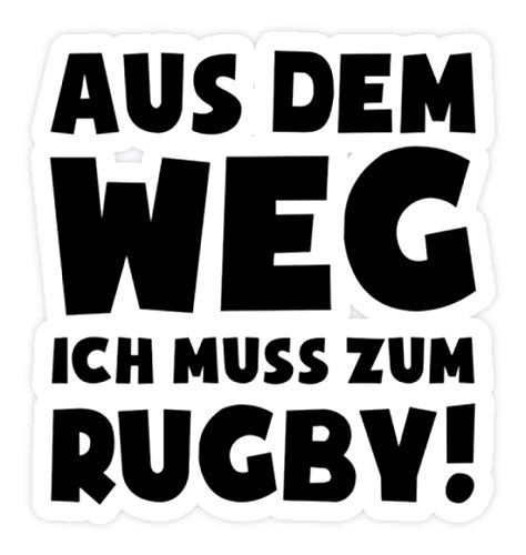 Weißes Rugby-shirt (shirt-o-magic Aufkleber Rugbyspieler: Muss zum Rugby! - Sticker -Einheitsgröße-Weiß)