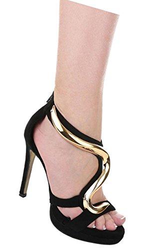 Damen Sandaletten Schuhe High Heels Plateau Pumps Schwarz Beige Schwarz