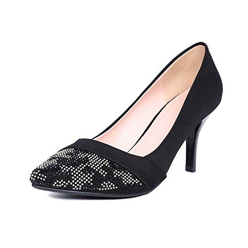 AllhqFashion Femme Couleur Unie Dépolissement à Talon Haut Tire Pointu Chaussures Légeres Noir