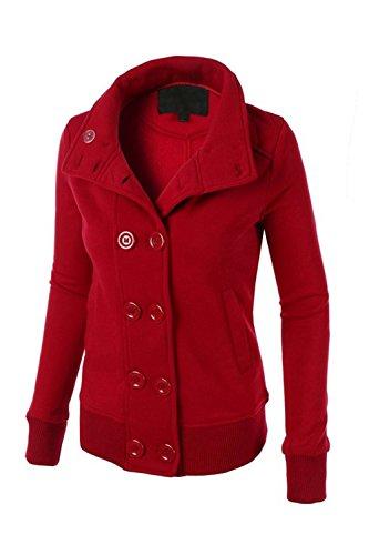 Le Donne Wram Doppiopetto Incappucciato Jecket Felpa Eskimo Outwear Red