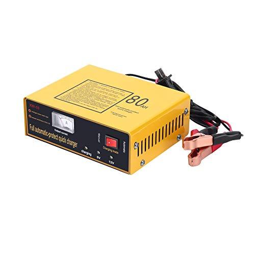 IanqAzwibvd-UK Caricabatteria per Auto rapido con Protezione Automatica 6V / 12V 80AH 140W Caricabatteria per Auto Giallo