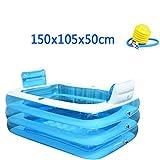 Home Doppel aufblasbare Badewanne dicke Falten Badewanne Eimer plastik Badewanne einweichen Pool, 150 x 105 x 50 cm