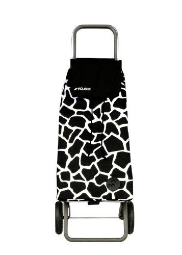 Rolser PAC025 Logic RG/Pack Savana Einkaufsroller, Edelstahl und Polyester, schwarz/weiß, 39 x 21 x 64,5 cm