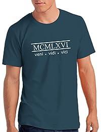 "Da Londra Mens 1966"" Veni Vidi Vici 52nd Birthday T Shirt Gift With Year Printed In Roman Numerals"