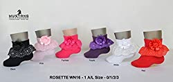 1stbabystore Rosette Baby Girls Frill Socks Pack Of 2 Pink, Red(0-6months)