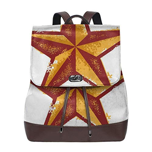 Women's Leather Backpack,Grunge Western Star Retro Style Worn Aged Country Design,School Travel Girls Ladies Rucksack -
