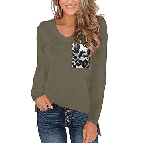 Honestyi Frauen Leopard Pocket Tops Kurz/Langarm V Ausschnitt T Shirt Casual Basic Tees Damenmode V Ausschnitt Leopardentasche lässig langärmeliges Loses Top(Armeegrün,XXL)