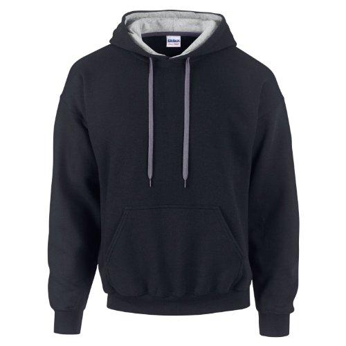 Gildan 185C00- Felpa Heavy Blend con cappuccio a contrasto Black/Sports Grey