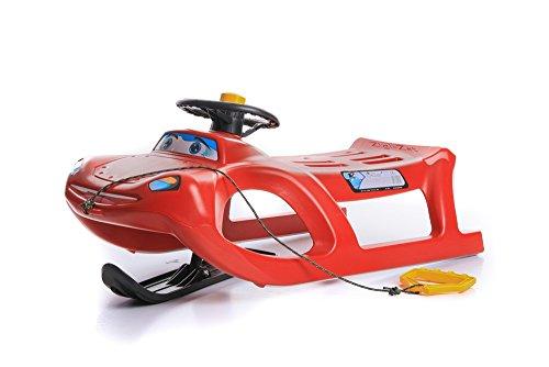 Schlitten Kinderschlitten Rodel aus Kunststoff mit Zugseil und Lenkung Zigi-Zet Control 2 Farben (Rot)