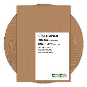 100 fogli di Carta Kraft DIN A4 280 gr/mq Natura in cartone di alta qualità Ideale per FAI DA TE E (DIY) Marrone