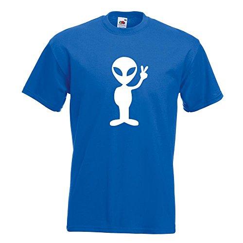 KIWISTAR - Alien Peace T-Shirt in 15 verschiedenen Farben - Herren Funshirt bedruckt Design Sprüche Spruch Motive Oberteil Baumwolle Print Größe S M L XL XXL Royal