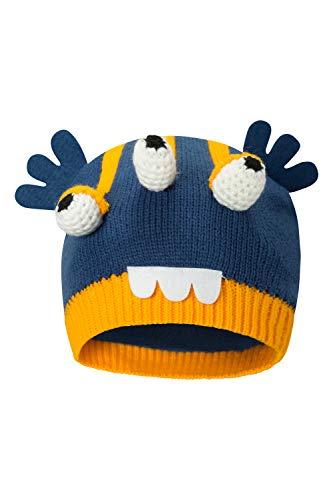 Mountain Warehouse Strickmütze im Alien-Design für Kinder - leichtgewichtig, Fleece-Futter, warme und bequem, Winter-Mütze - für Kinder für kaltes Wetter Blau