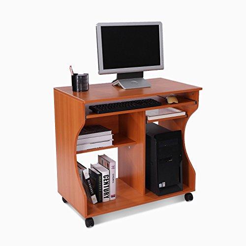 Homcom  Wooden Computer Desk PC Laptop Writing Table Storage Shelf Workstation Wood Cart Tray Furniture Wheels