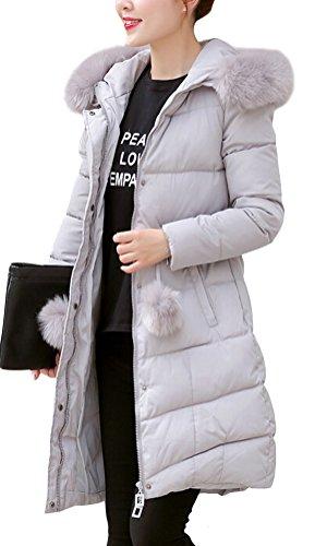 Brinny Damen Mantel Lange Winterjacke Steppjacke Kunstpelz Kapuzen Parka Lang Wintermantel Übergansjacke Mantel Jacke Fellkapuze Warmen Outerwear Fleecejacket 18 Grau