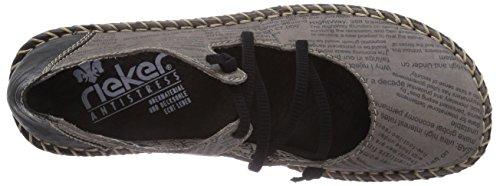 Rieker 49850 Damen Geschlossene Ballerinas Grau (shark/schwarz / 40)