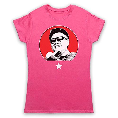 Kim Jong Il North Korean Dictator Damen T-Shirt Rosa