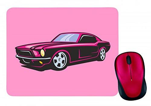 'Alfombrilla de ratón 'Rosa Hot Rod coche deportivo Oldtimer Young temporizador America Amy Estados Unidos Auto Car Lujo de ancho diseño V8V12Motor Llanta Tuning Mustang Cobra en blanco y negro de color azul de rosa de amarillo de color rojo de verde | Mousepad–Ratón (–Computer Pad–Alfombrilla para ratón con diseño, color rosa Pink