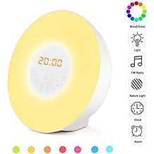 COOSA Luz de despertar Wake-Up Light with Sunrise Simulation and Radio Alarm Clock Night Light con radio FM luz colorida de la noche de la naturaleza del LED Lámpara ambiente simulación de amanecer con 6 sonidos naturales y un del FM (blanco)