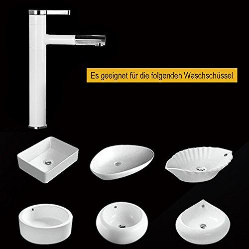 Homelody – Waschtisch-Einhebelarmatur, herausziehbarer Brausekopf, hoher Auslauf, Weiß-Chrom - 5