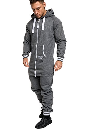 Amaci&Sons Herren Overall Jumpsuit Jogging Onesie Trainingsanzug 3007 Anthrazit/Weiß 3XL