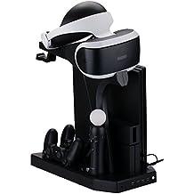 Pandaren® 7 en 1 Soporte Vertical Stand & PSVR Soporte & Soporte de Auriculares & 4 Ppuertos USB & Refrigerador & Cargador de Mando & Cargador de Move para PS4/Slim/PRO