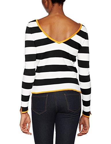 Only Onllisa L/S Pullover Knt, Pull Femme Multicolore (Cloud Dancer Stripes:W. Black/Yolk Yellow)