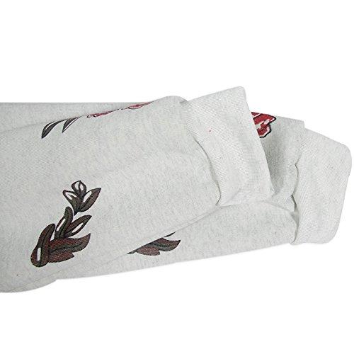 Minetom Donne Pullover Camicia Casuale Floreale Ricamato Sweatshirt Maniche Lunghe Collo Rotondo Felpa con Cappuccio Tops Giallo