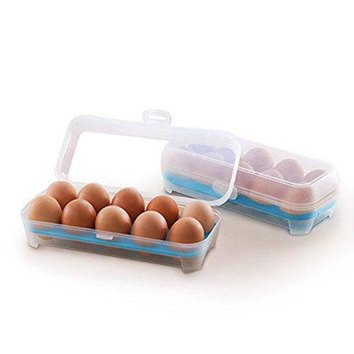 Yunhigh vassoio portauova in plastica portauova portauova con coperchio contenitore per scatola di immagazzinaggio uovo anatra impilabile per frigorifero - blu