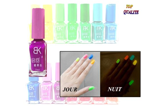 Glow-In-the-Dark Nail Polish Fluorescent UV Purple by B&K -