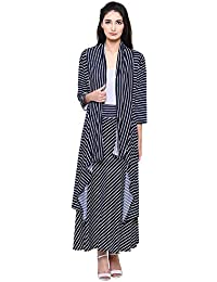 DAMEN MODE Women's Viscose Stripe Shrug and Skirt Combo Set (DMSRG1000_C, Multicolor, Free Size)
