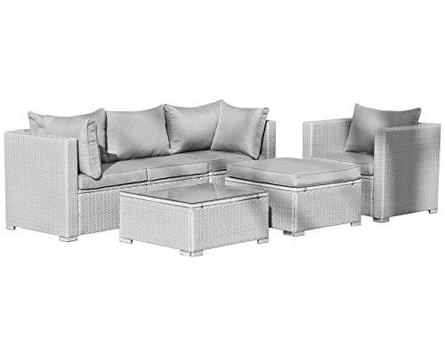 Hansson Polyrattan Lounge Sitzgruppe Gartenmöbel Garnitur Poly Rattan 3 bis 7 Sitzplätze plus Hocker (4 Sitzplätze + 1 Hocker)