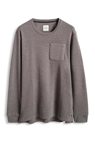 edc by ESPRIT Herren Sweatshirt 125cc2k010 - Meliert - Slim Fit Grau (MEDIUM GREY 035)
