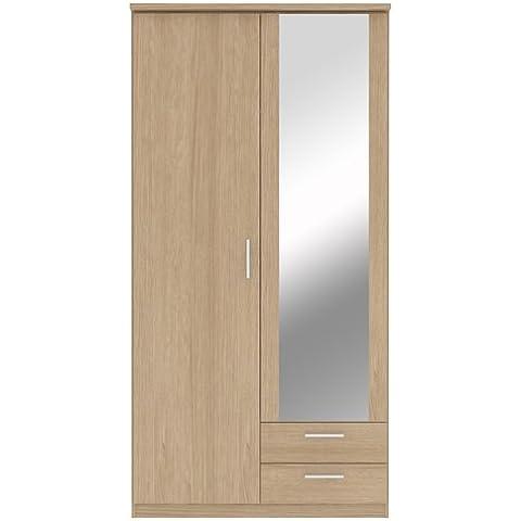 Bronte–Armario de espejo (2puertas, 2cajones), diseño con efecto de madera de roble