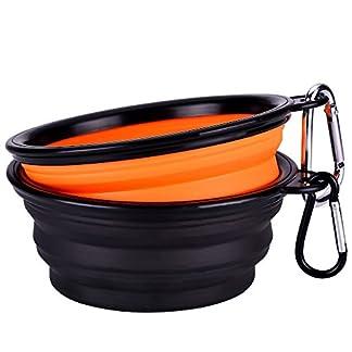 mudder collapsible travel silicone dog bowl portable pet food water bowl, set of 2 Mudder Collapsible Travel Silicone Dog Bowl Portable Pet Food Water Bowl, Set of 2 413JdQOS 3L