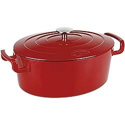 Sitram COCOTTE ovale en fonte émaillée grande capacité 6,5 litres - Extérieur rouge brillant, intérieur noir mat - toutes sources de chaleur y compris induction et four - 711088