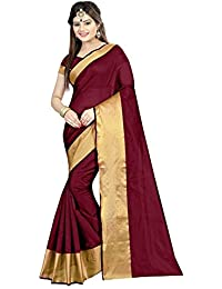 Deepjyoti Creation Women's Cotton Silk Saree With Blouse Piece (Dps-1149Z4, Maroon, Free Size)